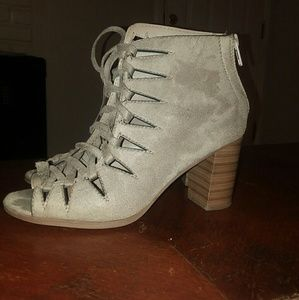 Soda grey suede tie up booties. Size 8. Comfy